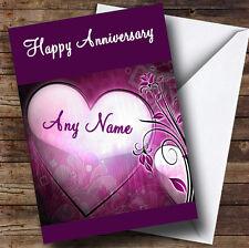 Corazón púrpura Personalizado Aniversario tarjeta de saludos