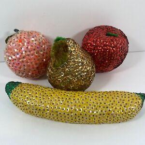 Vintage Handmade Push Pin Sequin Fruit Apple Orange Banana Pear MCM