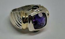 DAVID YURMAN Sz 5.5 Sterling Silver 14k Gold Ring Purple Amethyst Green Emerald