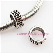 40Pcs Tibetan Silver Tone Round Circle Spacer Beads Charms 8mm