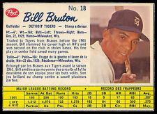 1962 POST BASEBALL CANADIAN #18 BILL BRUTON EX-NM DETROIT TIGERS Card