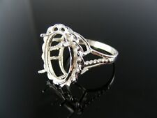 R122 Ring Setting Sterling Silver, Size 5, 14x12 Mm Oval Faceted Or Cab. Stone