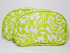2pc Clinique Makeup Bags Green & White Floral