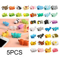 5PCS Cartoon Animal Cable Bite Cute Phone Charging Protector Soft Cord Accessory