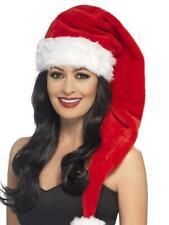 CHRISTMAS LONG RED SANTA HAT, FESTIVE FANCY-DRESS COSTUMES FUNNY FESTIVE  HATS