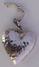 3D Heart Puffy Wing Pendant Sterling Silver Designer Signed Handmade Unique