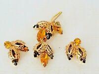 Vintage Gold Tone Flower Leaf Amber Brown Rhinestone Brooch Clip Earrings Set