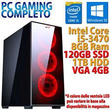 PC COMPUTER DESKTOP GAMING CASE VETRO CORE i5-3470 8GB SSD 120GB HDD 1TB RX550