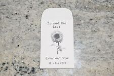 10 x Sunflower Seed Wedding Favours white personalised Table Guest inc seeds