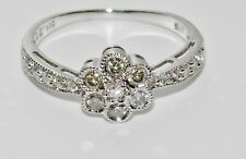 9ct White Gold 0.50CT Diamond Cluster Ring size R