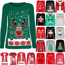 Womens Christmas T Shirt Ladies Present Movie Characters Reindeer Top Plus Size