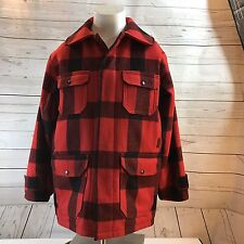 Vtg Mens Woolrich Woolen Mills Mackinaw Red Plaid Hunting Jacket SIZE 42 Large