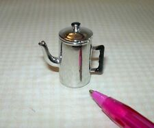 Miniature Old-Fashioned Metal Coffee Pot, Lid Removes: DOLLHOUSE Miniatures 1/12