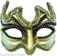Devil Mens Gold & White Glazed Venetian Mask Masked Ball Masquerade