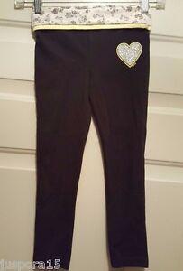 Justice Girl Black Gray Yellow Leopard Print Heart Glitter Leggings Pants Size 6