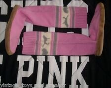 VICTORIA'S SECRET PINK GRAY MUKLUKS KNEE HIGH SOCK SLIPPER BOOTS SHOES LARGE 8 9