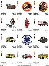 Fire & Rescue 12 embroidery machine designs on CD, Multi Formats available