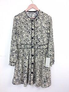 BNWT Zara Ecru Black Pattern Button Through Fit and Flare Dress Medium 10 12 UK