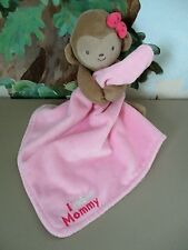 "CaRTeRS Plush MONKEY PiNK ""I ADORE MOMMY"" SeCuRiTy BLaNKeT LoViE RaTTLe"