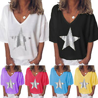Womens Baggy V Neck Tee T-shirts Short Sleeve Loose Blouse Tunic Tops Plus Size