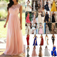 Womens Slim Waist Maxi Dress Prom Evening Party Cocktail Bridesmaid Wedding Gown
