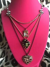 Open 24 Hours Checkered Heart Necklace Betsey Johnson Vintage First Date Diner
