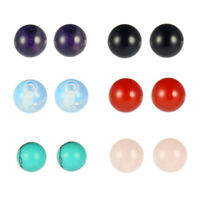 1 Set Charm Women's Round Amethyst/Tiger Eye Stone Stud Earring Jewelry Gift