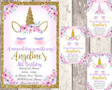 Unicorn Personalised  Birthday Invitations - Printed or Digital -Gold & Pink