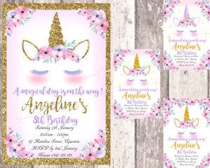 Unicorn Personalised  Birthday Invitations - Printed or Digital -Gold & Pink