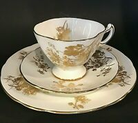 HAMMERSLEY & CO CHRYSANTHEMUM CUP & SAUCER PLATE GOLD FLORAL BONE CHINA  ENGLAND