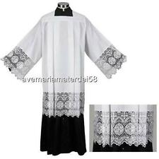 """Catholic Box Pleated Surplice with IHS 9"""" Inch Lace Polyester Size:  MEDIUM"""