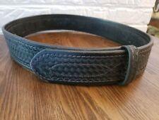 Men Vintage Police Safariland Black Basketweave Leather Size 34 Hookamp Loop Belt
