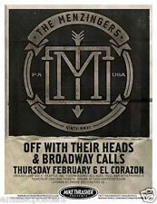 MENZINGERS/OFF WITH THEIR HEADS/BROADWAY CALLS 2014 SEATTLE CONCERT TOUR POSTER