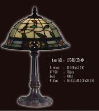 Tiffany Lampe weiß natur Bodüre rot blau grüne Blätter Tischlampe  neu T38L