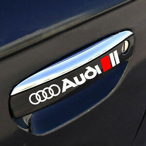 AUDI A3 A4 A6 A8 RS3 RS4 Q5 S- Line Door Handle Decal sticker emblem logo WHITE