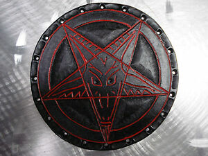 LEATHER BAPHOMET CARVED PATCH.(black metal).ANTON LAVEY