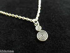 """Spiral Goddess Pendant 18"""" silver plated chain wicca pagan life double jewellery"""