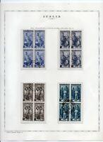 1955/1957 ITALIA AL LAVORO FILIGRANA STELLE SERIE COMPLETA 7 VALORI QUARTINE US