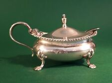 More details for garrard & co solid silver mustard pot with bristol blue glass liner. 1964 birm
