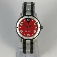 Vintage Tommy Womens T00017 Red Dial Stainless Steel Quartz Lightweight Watch