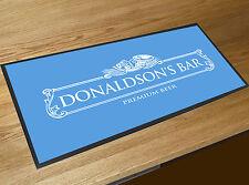 Personalised White Beer Label Blue bar runner home bar counter mat