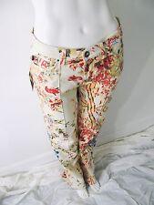 $595 Roberto Cavalli Metallic Floral Print Stretch Cotton Jeans Pants Sz 29 NWT