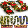 9FT Pre Lit Christmas Garland with Lights Door Wreath Xmas Fireplace Decor LED