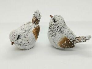 "Ganz White Glittery Winter Birds - Set of 2 Glistens (3.5"" Long)"