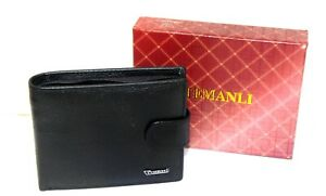 Temanli black leather wallet, new - boxed