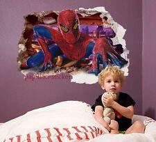 Grand SPIDER MAN gratte-ciel effet 3D-Autocollant Mural Vinyle Imprimé décor