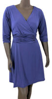 New, 70.00 Value! NY COLLECTION Blue Stretch Knit Surplice Fit & Flare Dress
