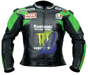 *KAWASAKI GREEN,RED,PURPLE,BLACK* MOTORCYCLE LEATHER JACKET Biker's MOTOGP