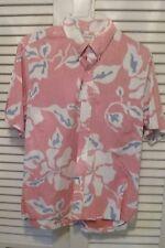 Kahala Large Pink/blue hibiscus floral men's Hawaiian aloha shirt short sleeve