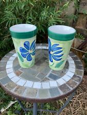 Lot of 2 Emerald Collection Coffee Cup Tall Latte Mug blue Floral 16 Oz